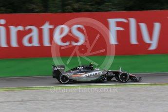 World © Octane Photographic Ltd. Sahara Force India VJM08B – Sergio Perez. Friday 4th September 2015, F1 Italian GP Practice 1, Monza, Italy. Digital Ref: 1405LB1D8748
