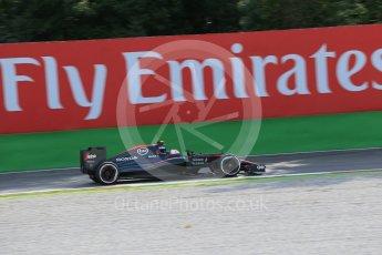 World © Octane Photographic Ltd. McLaren Honda MP4/30 - Jenson Button. Friday 4th September 2015, F1 Italian GP Practice 1, Monza, Italy. Digital Ref: 1405LB1D8847