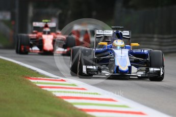 World © Octane Photographic Ltd. Sauber F1 Team C34-Ferrari – Marcus Ericsson and Scuderia Ferrari SF15-T– Kimi Raikkonen. Friday 4th September 2015, F1 Italian GP Practice 1, Monza, Italy. Digital Ref: 1405LB7D5525