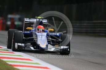World © Octane Photographic Ltd. Sauber F1 Team C34-Ferrari – Felipe Nasr. Friday 4th September 2015, F1 Italian GP Practice 1, Monza, Italy. Digital Ref: 1405LB7D5741