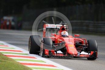 World © Octane Photographic Ltd. Scuderia Ferrari SF15-T– Sebastian Vettel. Friday 4th September 2015, F1 Italian GP Practice 1, Monza, Italy. Digital Ref: 1405LB7D6029