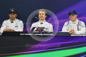 World © Octane Photographic Ltd. Mercedes AMG Petronas – Nico Rosberg (Pole) and Lewis Hamilton (2nd) and Williams Martini Racing – Valtteri Bottas (3rd). Saturday 26th September 2015, F1 Japanese Grand Prix, Qualifying, Suzuka. Digital Ref: