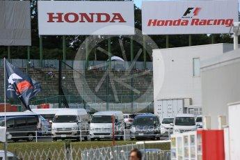 World © Octane Photographic Ltd. Honda Racing and F1 logos. Saturday 26th September 2015, F1 Japanese Grand Prix, Paddock, Suzuka. Digital Ref: 1445CB5D1817
