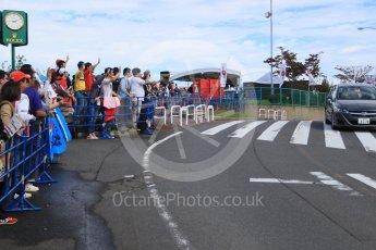 World © Octane Photographic Ltd. The Japanese fans waiting at the paddock entrance. Saturday 26th September 2015, F1 Japanese Grand Prix, Paddock, Suzuka. Digital Ref: 1445CB7D6298