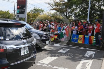 World © Octane Photographic Ltd. The Japanese fans waiting at the paddock entrance. Saturday 26th September 2015, F1 Japanese Grand Prix, Paddock, Suzuka. Digital Ref: 1445CB7D6334