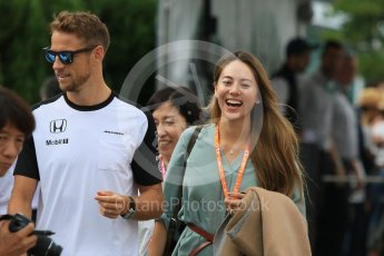 World © Octane Photographic Ltd. McLaren Honda MP4/30 - Jenson Button and Jessica Michibata. Sunday 27th September 2015, F1 Japanese Grand Prix, Setup, Suzuka. Digital Ref: 1448CB7D7749