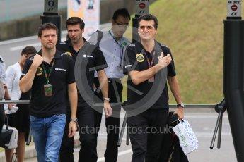 World © Octane Photographic Ltd. Lotus F1 Team – Jolyon Palmer, Federico Gastaldi and Matthew Carter. Sunday 27th September 2015, F1 Japanese Grand Prix, Setup, Suzuka. Digital Ref: 1448CB7D7814