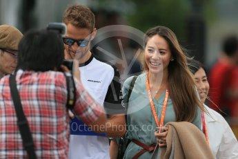 World © Octane Photographic Ltd. McLaren Honda MP4/30 - Jenson Button and Jessica Michibata. Sunday 27th September 2015, F1 Japanese Grand Prix, Setup, Suzuka. Digital Ref: 1448LB1D3893