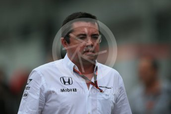 World © Octane Photographic Ltd. McLaren Honda - Eric Boullier. Sunday 27th September 2015, F1 Japanese Grand Prix, Setup, Suzuka. Digital Ref: 1448LB1D4128