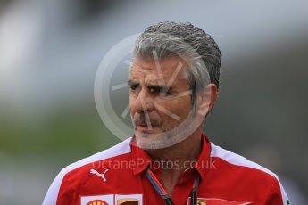 World © Octane Photographic Ltd. Scuderia Ferrari - Maurizio Arrivabene. Sunday 27th September 2015, F1 Japanese Grand Prix, Setup, Suzuka. Digital Ref: 1448LB1D4143