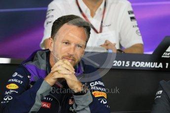 World © Octane Photographic Ltd. Team Personnel Press Conference. Friday 25th September 2015, F1 Japanese Grand Prix, Suzuka. Christian Horner – Infiniti Red Bull Racing team principle. Digital Ref: 1444CB7D6129