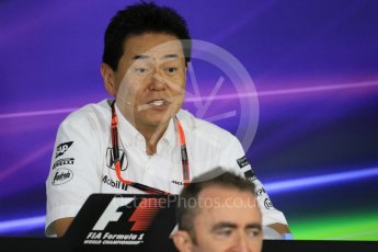 World © Octane Photographic Ltd. Team Personnel Press Conference. Friday 25th September 2015, F1 Japanese Grand Prix, Suzuka. Yasuhisa Arai - Honda Head of Motorsport. Digital Ref: 1444CB7D6169
