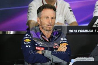 World © Octane Photographic Ltd. Team Personnel Press Conference. Friday 25th September 2015, F1 Japanese Grand Prix, Suzuka. Christian Horner – Infiniti Red Bull Racing team principle. Digital Ref: 1444CB7D6247