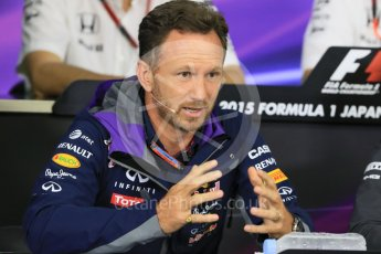 World © Octane Photographic Ltd. Team Personnel Press Conference. Friday 25th September 2015, F1 Japanese Grand Prix, Suzuka. Christian Horner – Infiniti Red Bull Racing team principle. Digital Ref: 1444CB7D6264