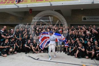 World © Octane Photographic Ltd. Mercedes AMG Petronas F1 team – Lewis Hamilton, celebrate on winning the USA GP, with enough points to take the World Drivers Championship (WDC) Sunday 25th October 2015, F1 USA Grand Prix, Austin, Texas - Circuit of the Americas (COTA). Digital Ref: 1468LB1D3258