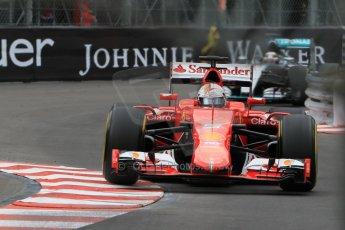 World © Octane Photographic Ltd. Scuderia Ferrari SF15-T– Sebastian Vettel and Mercedes AMG Petronas F1 W06 Hybrid – Lewis Hamilton. Thursday 21st May 2015, F1 Practice 2, Monte Carlo, Monaco. Digital Ref: 1274CB7D3536