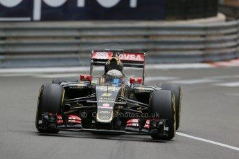World © Octane Photographic Ltd. Lotus F1 Team E23 Hybrid – Romain Grosjean. Thursday 21st May 2015, F1 Practice 2, Monte Carlo, Monaco. Digital Ref: 1274LB1D4002
