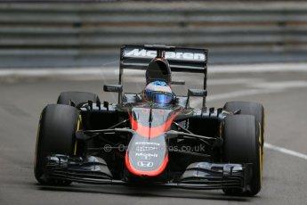 World © Octane Photographic Ltd. McLaren Honda MP4/30 – Fernando Alonso. Thursday 21st May 2015, F1 Practice 2, Monte Carlo, Monaco. Digital Ref: 1274LB1D4030