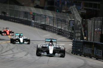World © Octane Photographic Ltd. Mercedes AMG Petronas F1 W06 Hybrid – Lewis Hamilton. followed by his team mate Nico Rosberg. Sunday 24th May 2015, F1 Race, Monte Carlo, Monaco. Digital Ref: 1286LB1D8153