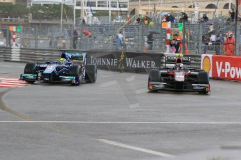 World © Octane Photographic Ltd. Thursday 21st May 2015. Carlin – Julian Leal and Rapax – Robert Visoiu. GP2 Qualifying – Monaco, Monte-Carlo. Digital Ref. : 1275CB7D3913