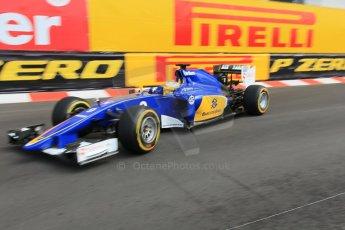 World © Octane Photographic Ltd. Sauber F1 Team C34-Ferrari – Marcus Ericsson. Thursday 21st May 2015, F1 Practice 1, Monte Carlo, Monaco. Digital Ref: 1272CB1L9676