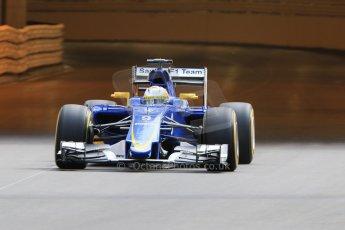 World © Octane Photographic Ltd. Sauber F1 Team C34-Ferrari – Marcus Ericsson. Thursday 21st May 2015, F1 Practice 1, Monte Carlo, Monaco. Digital Ref: 1272CB7D2734
