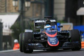World © Octane Photographic Ltd. McLaren Honda MP4/30 – Fernando Alonso. Thursday 21st May 2015, F1 Practice 1, Monte Carlo, Monaco. Digital Ref: 1272LB1D3356