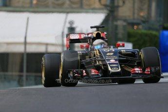 World © Octane Photographic Ltd. Lotus F1 Team E23 Hybrid – Romain Grosjean. Thursday 21st May 2015, F1 Practice 1, Monte Carlo, Monaco. Digital Ref: 1272LB1D3392