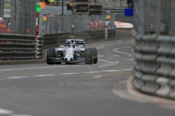 World © Octane Photographic Ltd. Williams Martini Racing FW37 – Valtteri Bottas. Thursday 21st May 2015, F1 Practice 1, Monte Carlo, Monaco. Digital Ref: 1272LB1D3723
