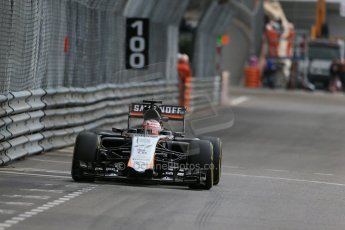 World © Octane Photographic Ltd. Sahara Force India VJM08 – Nico Hulkenberg. Thursday 21st May 2015, F1 Practice 1, Monte Carlo, Monaco. Digital Ref: 1272LB1D3842