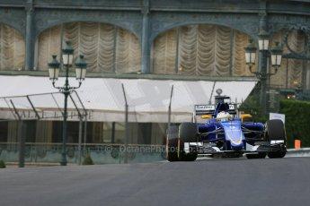 World © Octane Photographic Ltd. Sauber F1 Team C34-Ferrari – Marcus Ericsson. Thursday 21st May 2015, F1 Practice 1, Monte Carlo, Monaco. Digital Ref: 1272LB5D2636