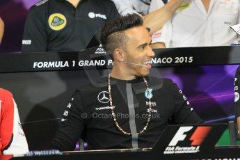World © Octane Photographic Ltd. Mercedes AMG Petronas F1 – Lewis Hamilton. Wednesday 20th May 2015, FIA Drivers' Press Conference, Monte Carlo, Monaco. Digital Ref: 1271CB1L9280