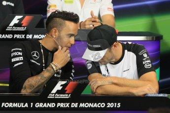 World © Octane Photographic Ltd. Mercedes AMG Petronas F1 – Lewis Hamilton and McLaren Honda - Jenson Button. Wednesday 20th May 2015, FIA Drivers' Press Conference, Monte Carlo, Monaco. Digital Ref: 1271CB1L9352