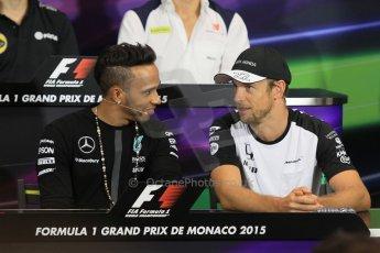 World © Octane Photographic Ltd. Mercedes AMG Petronas F1 – Lewis Hamilton and McLaren Honda - Jenson Button. Wednesday 20th May 2015, FIA Drivers' Press Conference, Monte Carlo, Monaco. Digital Ref: 1271CB1L9376