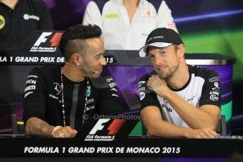 World © Octane Photographic Ltd. Mercedes AMG Petronas F1 – Lewis Hamilton and McLaren Honda - Jenson Button. Wednesday 20th May 2015, FIA Drivers' Press Conference, Monte Carlo, Monaco. Digital Ref: 1271CB1L9386