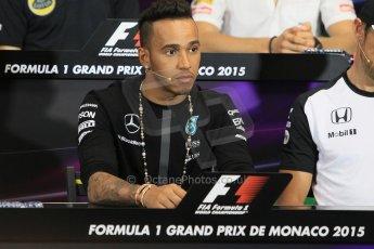 World © Octane Photographic Ltd. Mercedes AMG Petronas F1 – Lewis Hamilton. Wednesday 20th May 2015, FIA Drivers' Press Conference, Monte Carlo, Monaco. Digital Ref: 1271CB1L9391