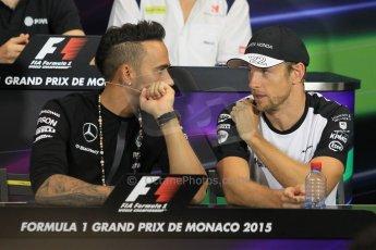 World © Octane Photographic Ltd. Mercedes AMG Petronas F1 – Lewis Hamilton and McLaren Honda - Jenson Button. Wednesday 20th May 2015, FIA Drivers' Press Conference, Monte Carlo, Monaco. Digital Ref: 1271CB1L9461