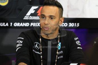 World © Octane Photographic Ltd. Mercedes AMG Petronas F1 – Lewis Hamilton. Wednesday 20th May 2015, FIA Drivers' Press Conference, Monte Carlo, Monaco. Digital Ref: 1271CB7D2613