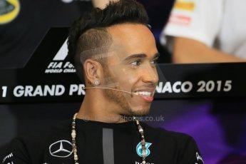 World © Octane Photographic Ltd. Mercedes AMG Petronas F1 – Lewis Hamilton. Wednesday 20th May 2015, FIA Drivers' Press Conference, Monte Carlo, Monaco. Digital Ref: 1271LB1D3029