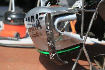 World © Octane Photographic Ltd. Sahara Force India VJM08 side pod vanes. Wednesday 20th May 2015, F1 Pitlane, Monte Carlo, Monaco. Digital Ref:  1270CB1L9109