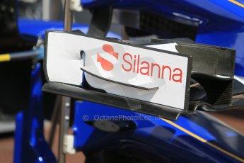 World © Octane Photographic Ltd. Sauber F1 Team C34-Ferrari front wing endplates. Wednesday 20th May 2015, F1 Pitlane, Monte Carlo, Monaco. Digital Ref:  1270CB1L9130