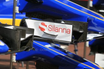 World © Octane Photographic Ltd. Sauber F1 Team C34-Ferrari front wing endplates. Wednesday 20th May 2015, F1 Pitlane, Monte Carlo, Monaco. Digital Ref:  1270CB1L9131