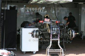 World © Octane Photographic Ltd. Lotus F1 Team E23 Hybrid – Romain Grosjean. Wednesday 20th May 2015, F1 Pitlane, Monte Carlo, Monaco. Digital Ref: 1270LB5D2481