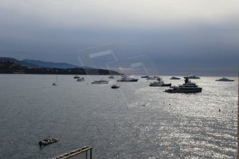 World © Octane Photographic Ltd. Saturday 23rd May 2015. The yachts at anchor in the bay outside the harbour. WSR (World Series by Renault - Formula Renault 3.5) Qualifying – Monaco, Monte-Carlo. Digital Ref. : 1280CB1L0590