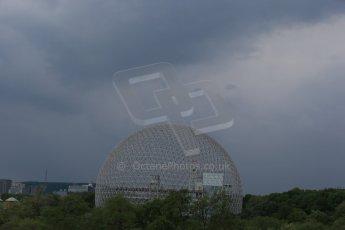 World © Octane Photographic Ltd. Rain closing in behind the biosphere. Friday 5th June 2015, F1 Practice 2, Circuit Gilles Villeneuve, Montreal, Canada. Digital Ref: 1292LB1D0238