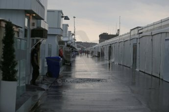 World © Octane Photographic Ltd. Rain soaked paddock. Friday 5th June 2015, F1 Practice 2, Circuit Gilles Villeneuve, Montreal, Canada. Digital Ref: 1292LB1D0341