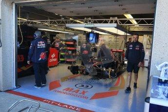 World © Octane Photographic Ltd. Scuderia Toro Rosso STR10 – Max Verstappen. Saturday 6th June 2015, F1 Canadian GP Practice 3 pitlane, Circuit Gilles Villeneuve, Montreal, Canada. Digital Ref: 1295CB7D0747