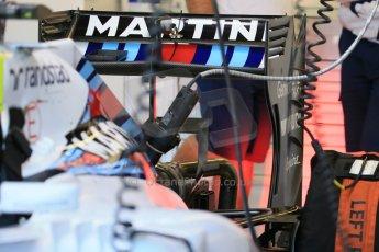 World © Octane Photographic Ltd. Williams Martini Racing FW37 – Felipe Massa rear wing. Saturday 6th June 2015, F1 Canadian GP Practice 3 pitlane, Circuit Gilles Villeneuve, Montreal, Canada. Digital Ref: 1295LB1D0750