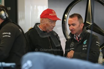 World © Octane Photographic Ltd. Mercedes AMG Petronas Niki Lauda and Paddy Lowe. Saturday 6th June 2015, F1 Canadian GP Practice 3 pitlane, Circuit Gilles Villeneuve, Montreal, Canada. Digital Ref: 1295LB1D0815