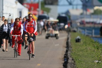 World © Octane Photographic Ltd. Scuderia Ferrari SF15-T– Sebastian Vettel with his personal trainer Antti Kontsas. Saturday 6th June 2015, F1 Canadian GP Paddock, Circuit Gilles Villeneuve, Montreal, Canada. Digital Ref: 1294LB1D0710